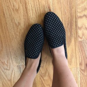 Stylish black and gold loafer flats